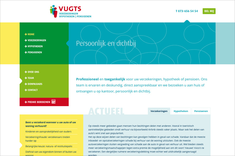 Vugts Verzekeringen website incl. Expression Engine CMS